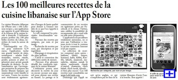 Article about the '100 Lebanese Recipes' application in L'Orient-Le Jour (Lebanon)